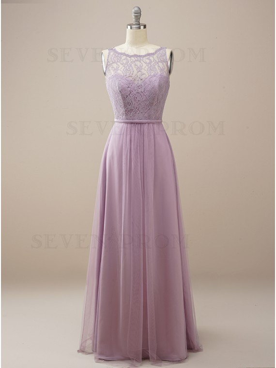 Round Neck Lilac Long Bridesmaid Dress