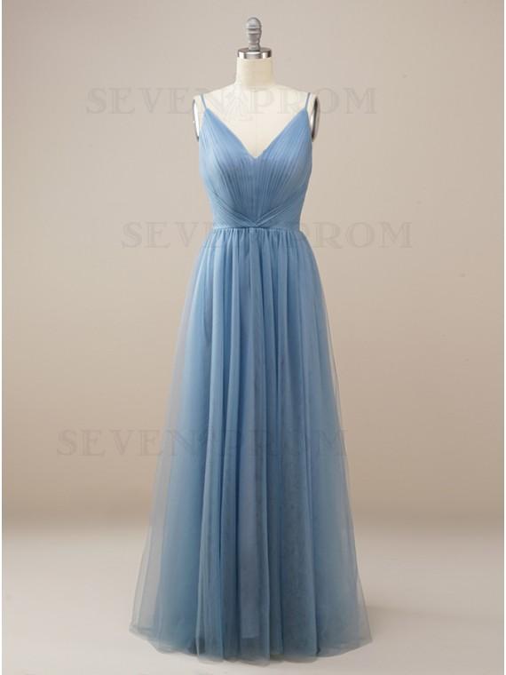Simple Long Dusty Blue Bridesmaid Dress