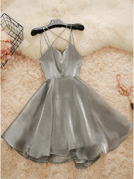 Short Spaghetti Straps Sexy Silver Homecoming Dress
