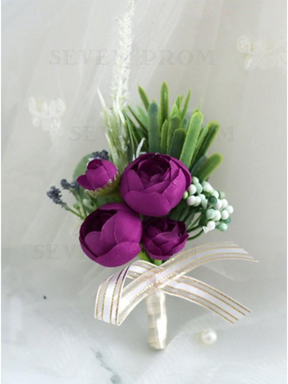Handmade Purple Rose Boutonniere