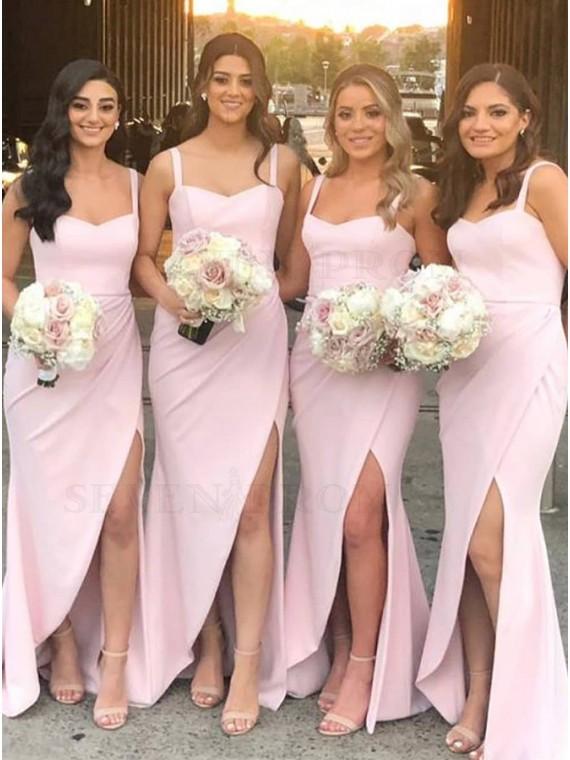 Sheath Straps Long Pink Bridesmaid Dress with Split