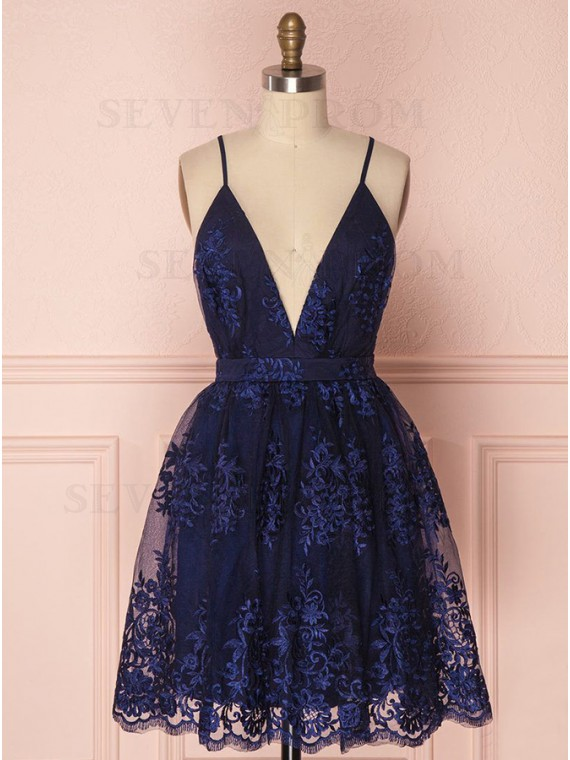 Spaghetti Straps Short Navy Blue Homecoming Dress with Appliques