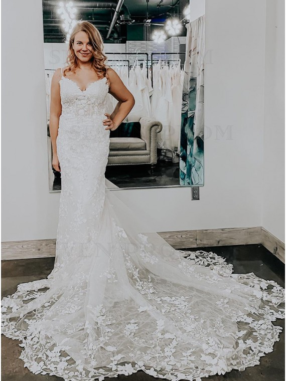 White Mermaid Sleeveless Court Train Wedding Dress with Appliques