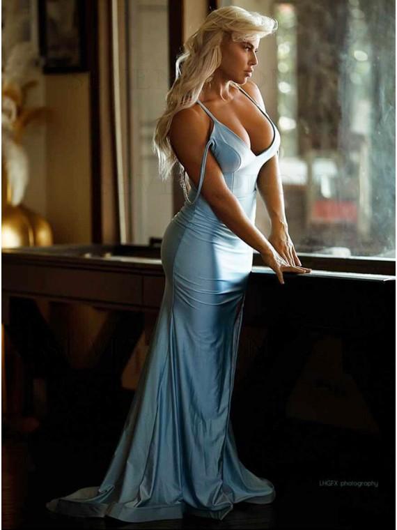Blue Satin Long Prom Dress