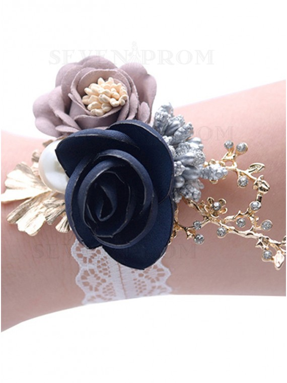 Handmade Artificial Flower Wrist Corsages with Pearls