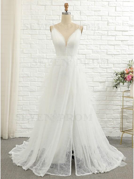 A-line Backless Lace Wedding Dress