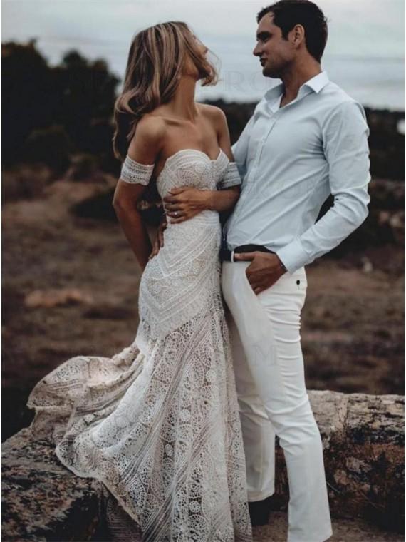 Mermaid Sweetheart Sweep Train Lace Boho Wedding Dress