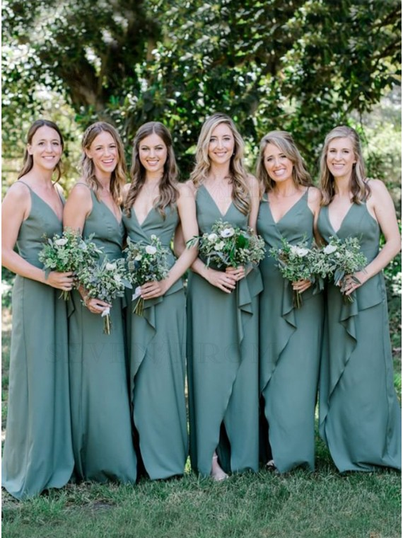 Sheath V-Neck Sleeveless Long Bridesmaid Dress With Split