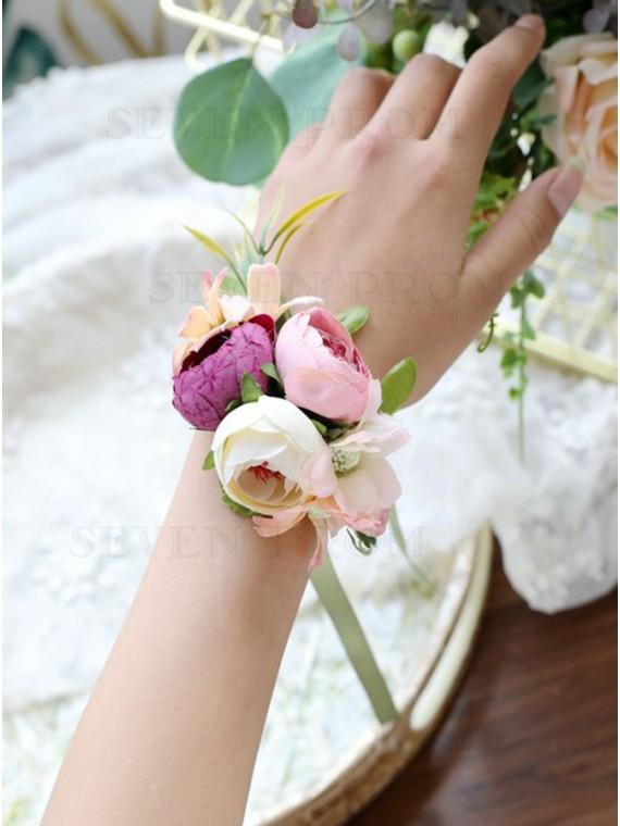 Pink Wristband Bracelet Wrist Corsage
