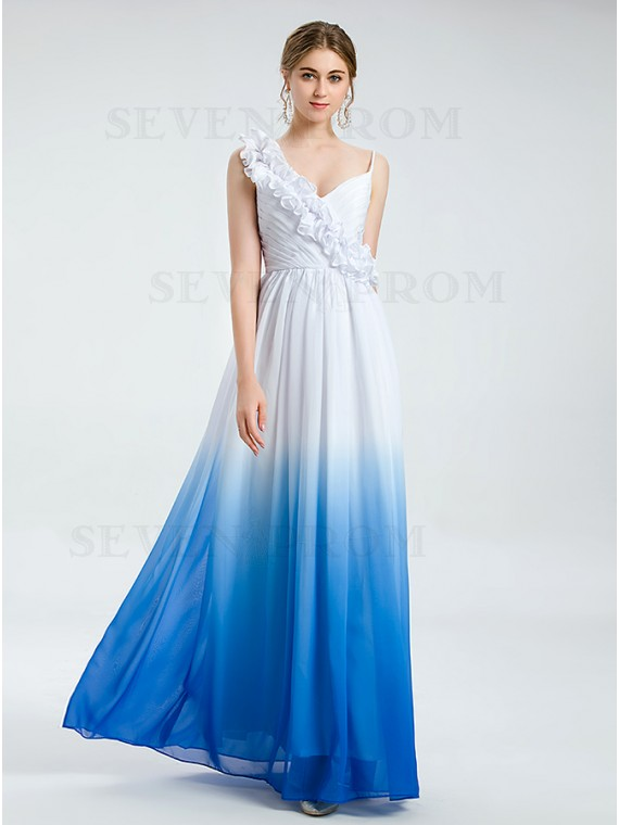 White and Blue Ombre Chiffon Long Formal Dress