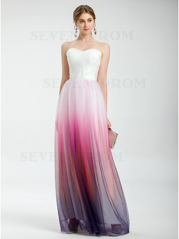 Simple Pink and White Sweetheart Neckline Ombre Long Formal Dress