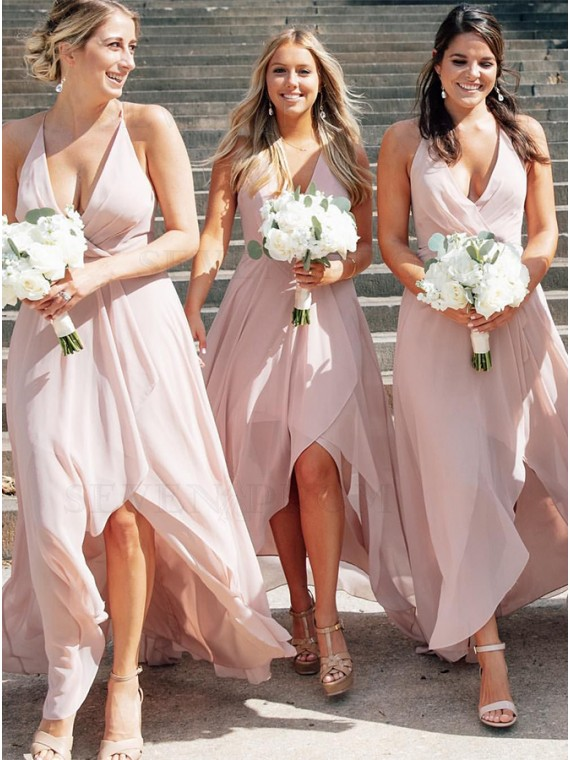 Asymmetrical Pink Bridesmaid Dress Backless Wedding Party Dress