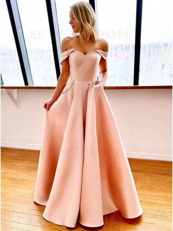Off the Shoulder Pink Prom Dress with Pockets Long Prom Gown