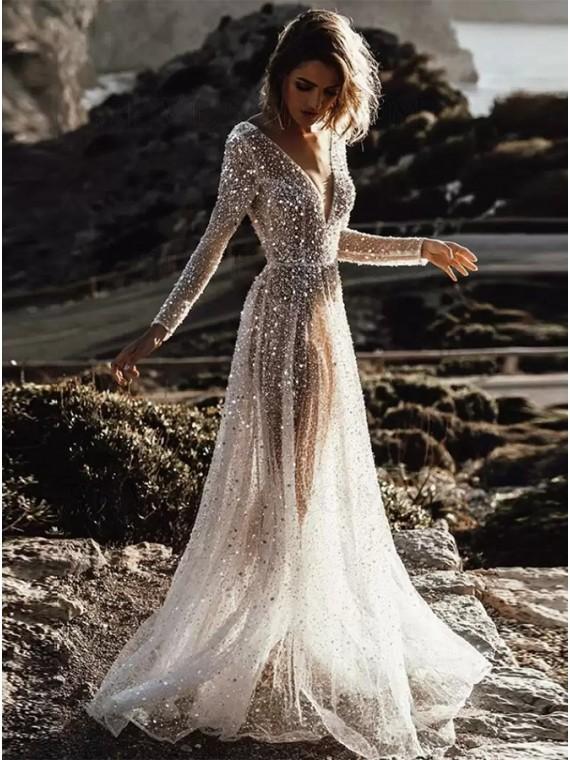 Glitter Sequin Long Sleeve Backless Wedding Dress