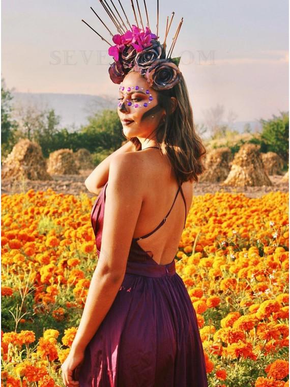 Purple Satin Long Prom Dress