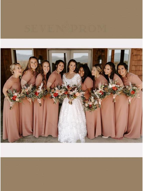 A-Line Jewel Short Sleeves Long Bridesmaid Dress