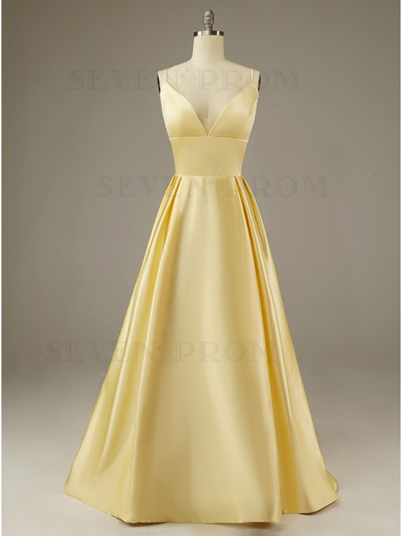 Simple Satin Lace-up Daffodil Prom Dress