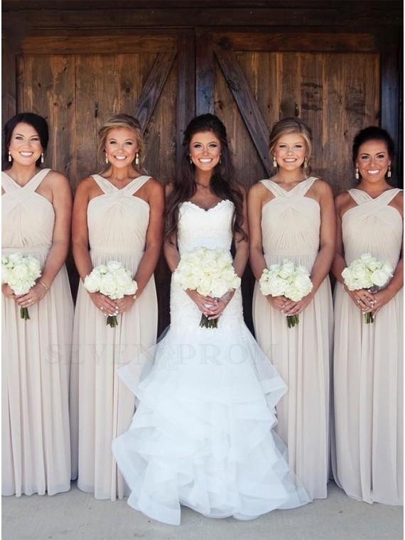 Stylish V-Neck Sleeveless Long Pleats Ivory Bridesmaid Dress