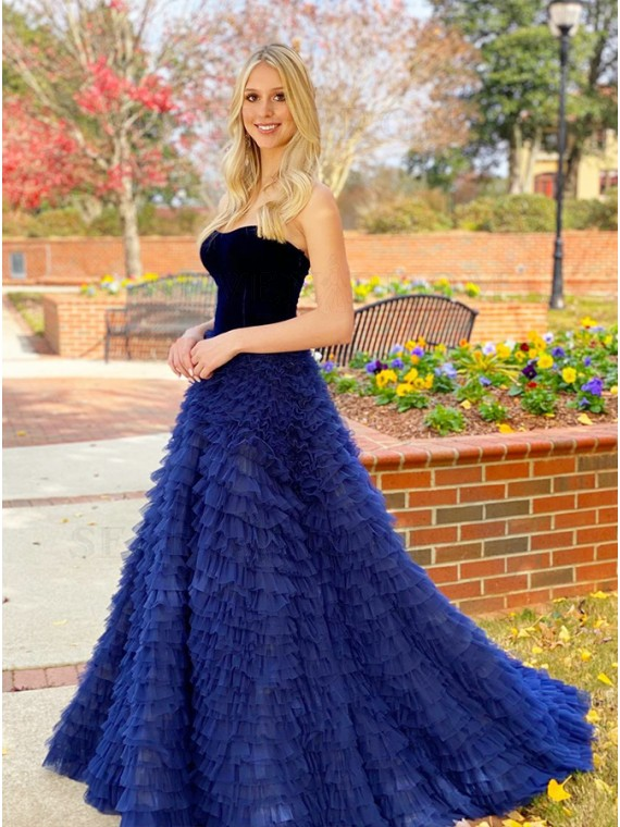 Navy Blue Velvet Prom Dress