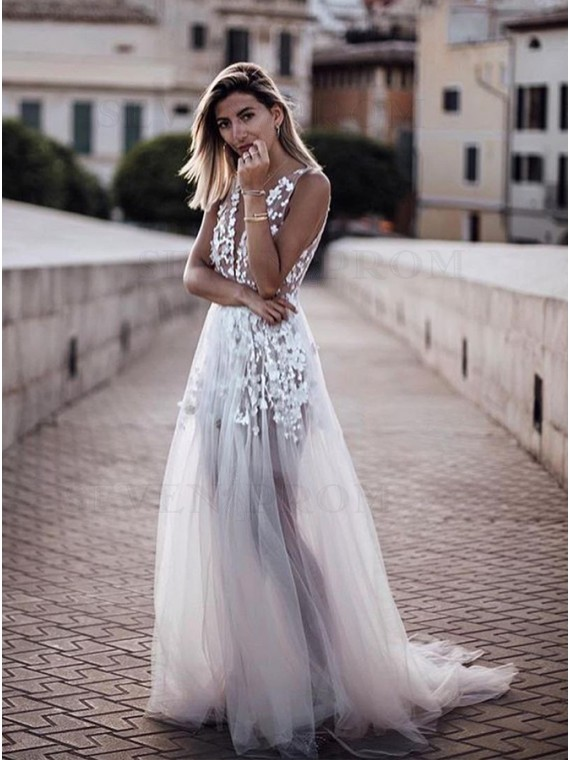 A-Line V-Neck Open Back Appliques Sleeveless Wedding Dress with Sweep Train