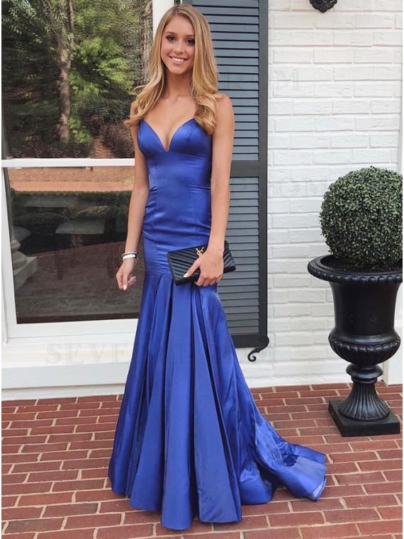 Blue A-Line Satin Prom Dress