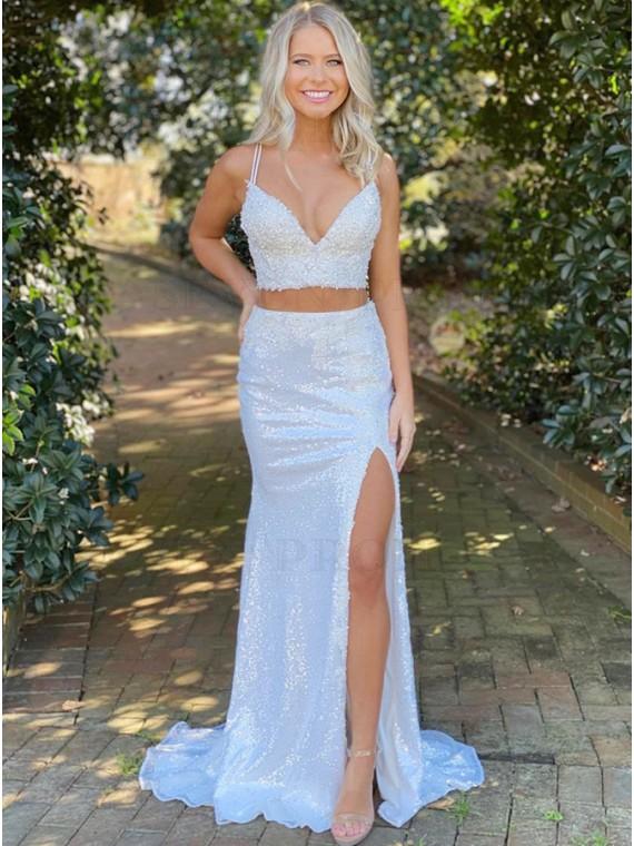 Blue Satin Sequins Long Prom Dress