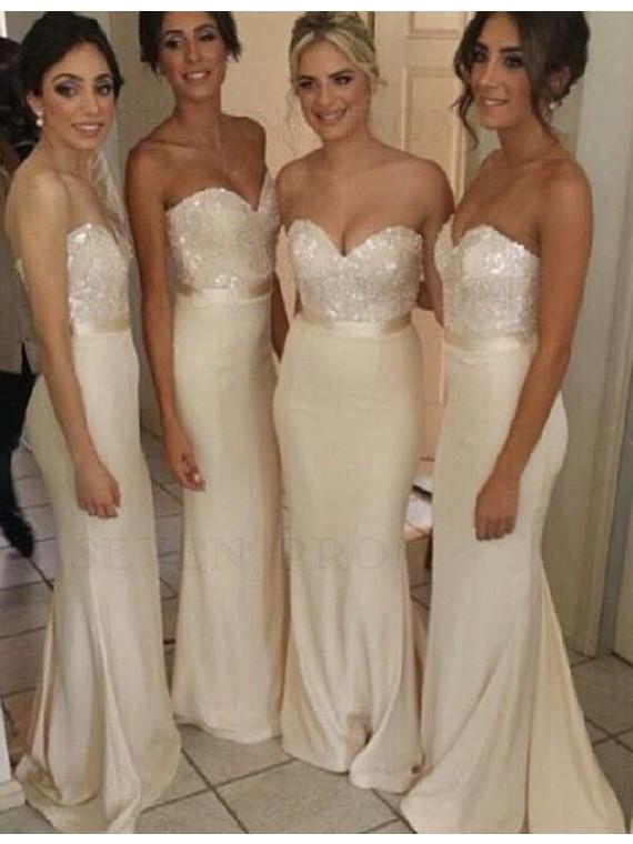 Decent Ivory Mermaid Sweetheart Floor-Length Sequins Bridesmaid Dress