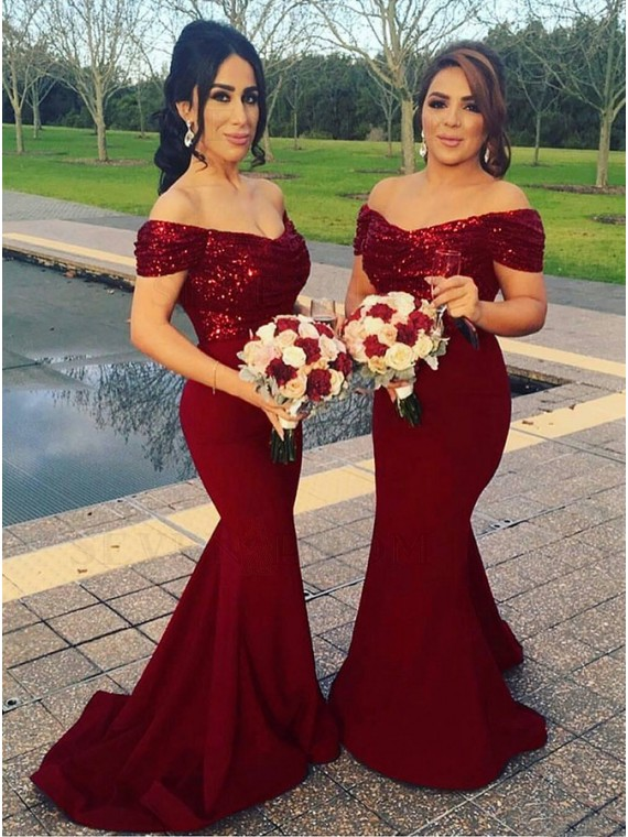 Stunning Mermaid Off the Shoulder Long Dark Red Bridesmaid Dress with Sequin