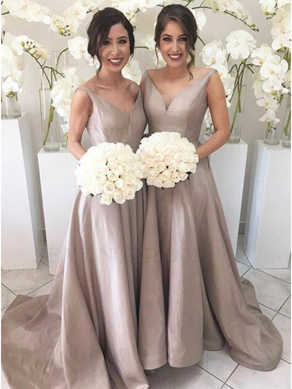 Simple Silver V-Neck Sleeveless High Low Sweep Train Bridesmaid Dress