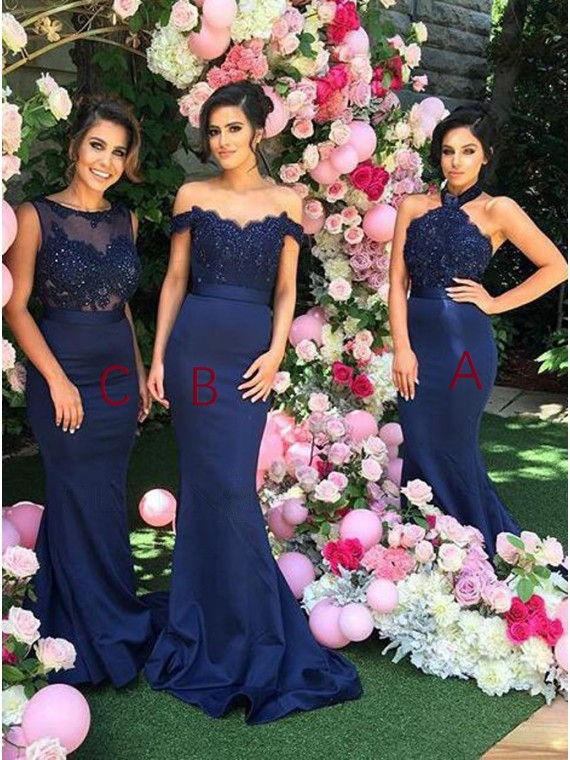 Stylish Navy Blue Mermaid Halter Beading with Lace Backless Bridesmaid Dress