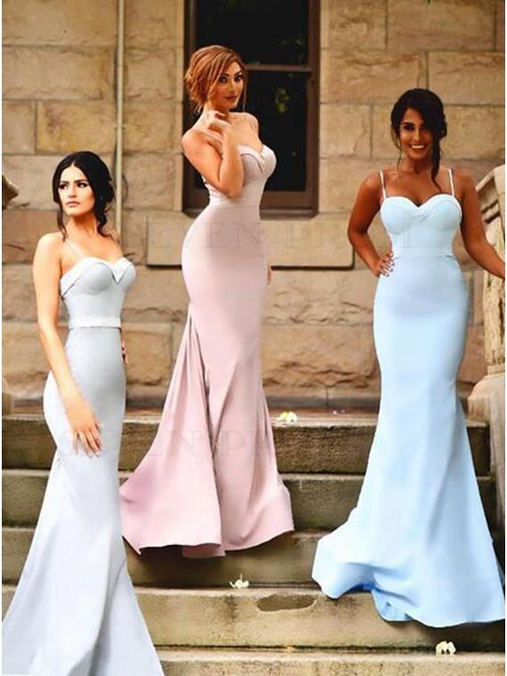 Simple Pink Mermaid Spaghetti Straps Sweep Train Sash Pleats Bridesmaid Dress