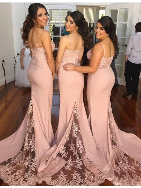 Mermaid Spaghetti Straps Long Pink Bridesmaid Dress with Appliques