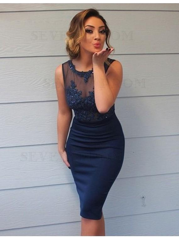 Stylish Navy Blue Sheath Scoop Sleeveless Appliques Beading Bridesmaid Dress