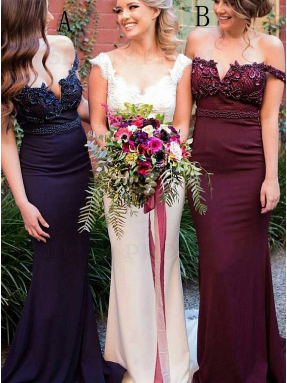 Mermaid Off-the-Shoulder Sweep Train Navy Blue Bridesmaid Dress with Beading