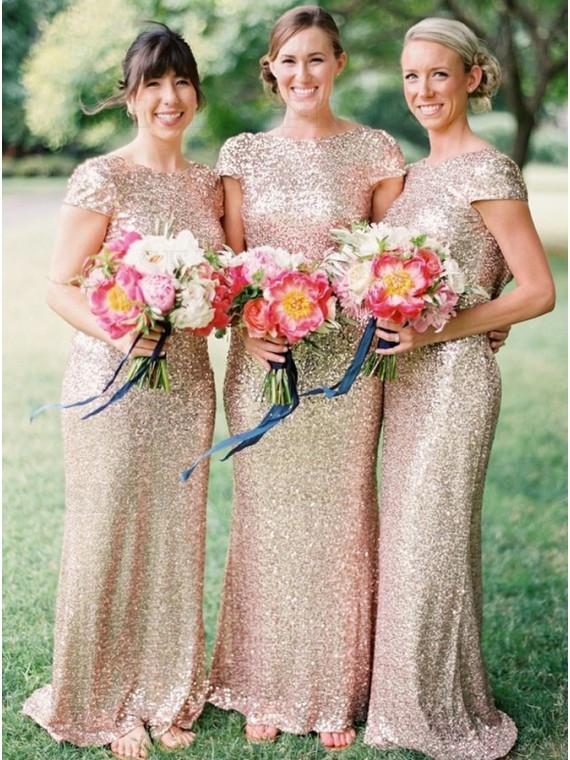 Chic Mermaid Cap Sleeves Sequins Long Gold Bridesmaid Dress