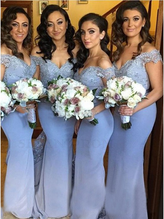 Elegant Mermaid Off the Shoulder Bridesmaid Dress with Lace