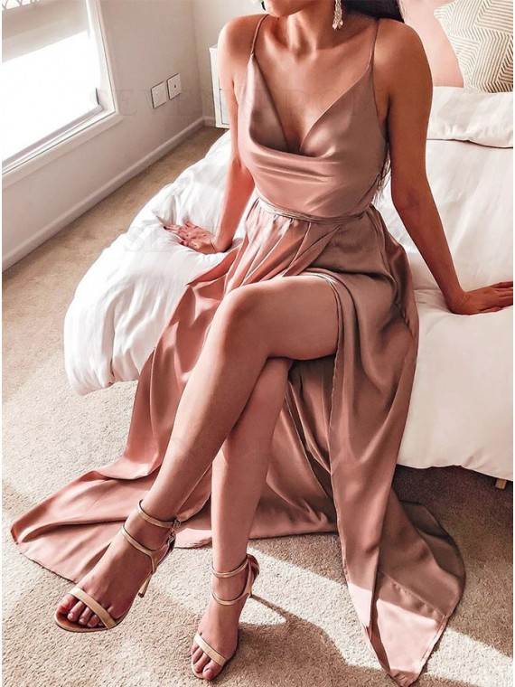 Dusty Rose Bridesmaid Dress Long Party Dresses