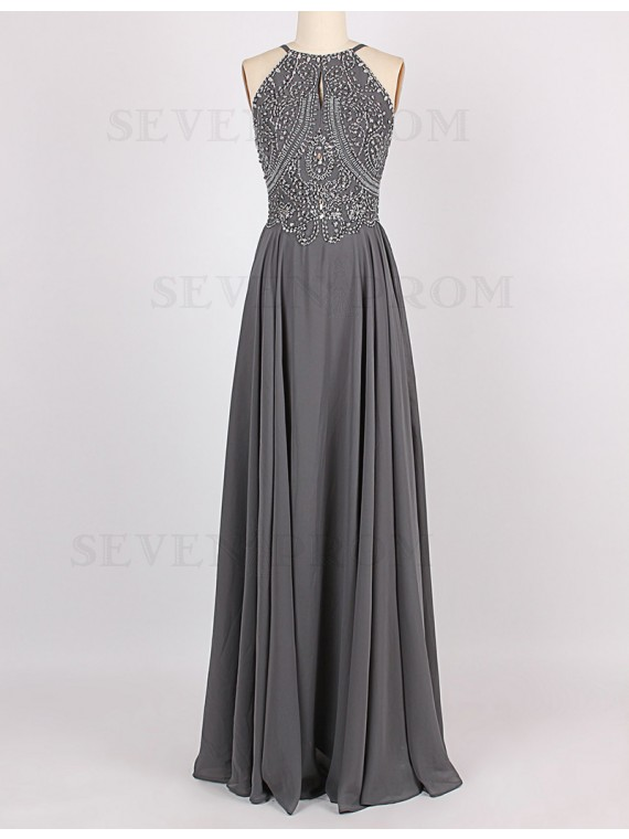 A-Line Halter Sleeveless Long Grey Prom Dress with Beading Keyhole