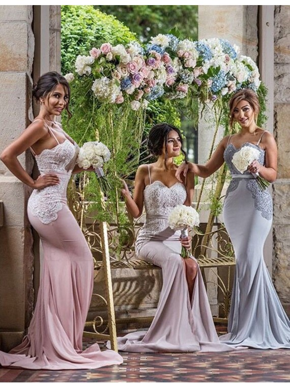 Mermaid Spaghetti Straps Split Sweep Train Bridesmaid Dress with Lace Beading