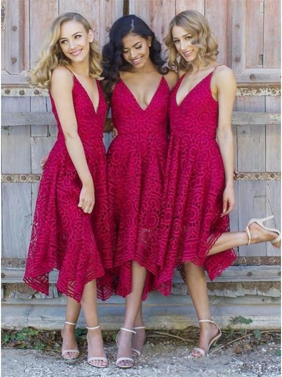 A-Line Spaghetti Straps Asymmetrical Red Lace Bridesmaid Dress