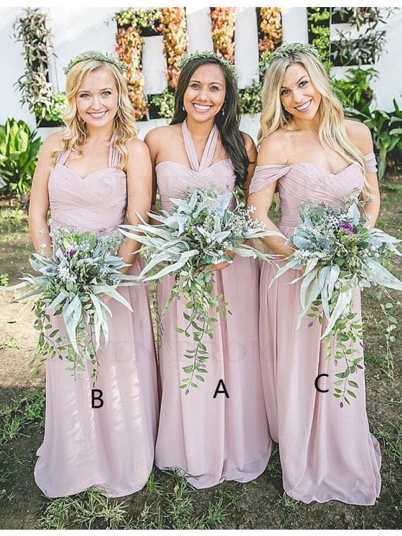 A-line Halter Sleeveless Floor Length Ruched Blush Bridesmaid Dress