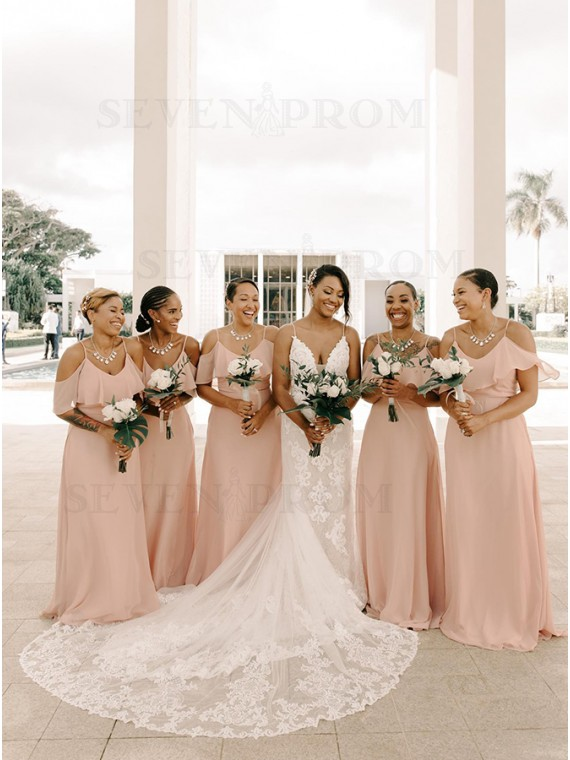 Chiffon Long Bridesmaid Dress with Sleeves