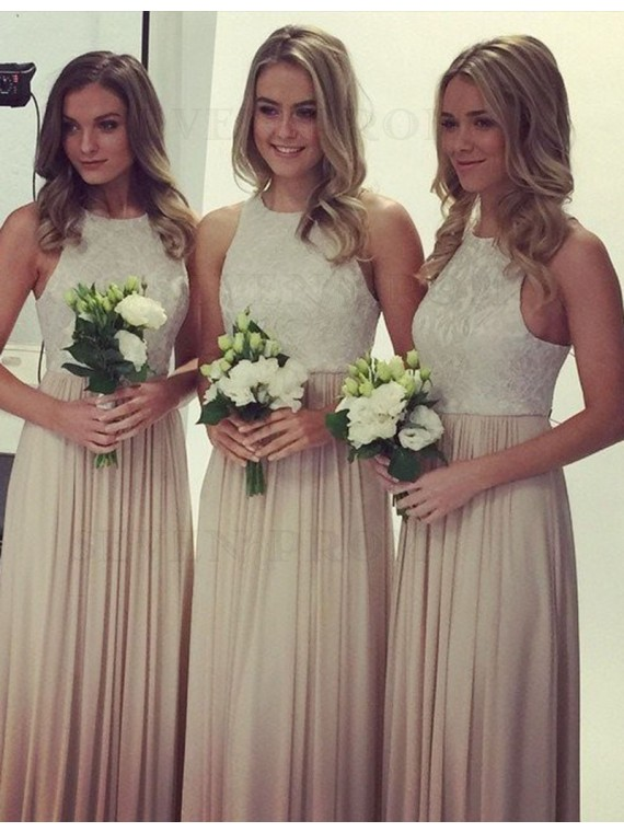 Simple Light Champagne Jewel Sleeveless with Lace Long Bridesmaid Dress