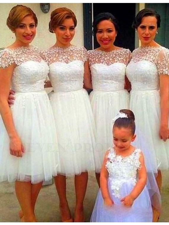 Cute White Bateau Short Sleeves Knee-length with Lace Bridesmaid Dress