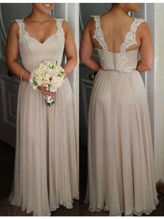 Simple Light Champagne Scoop Sleeveless Floor Length with Lace Bridesmaid Dress