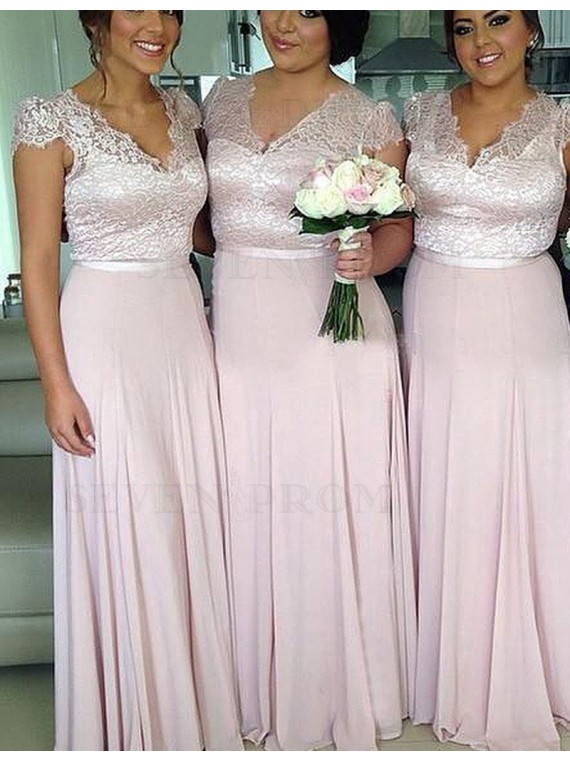 Nice Lavender V Neck Cap Sleeves with Lace Long Bridesmaid Dress