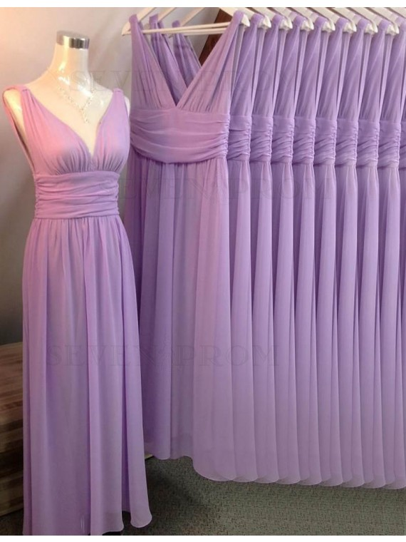 Fashion Lavender V Neck Sleeveless Long Ruched Bridesmaid Dress