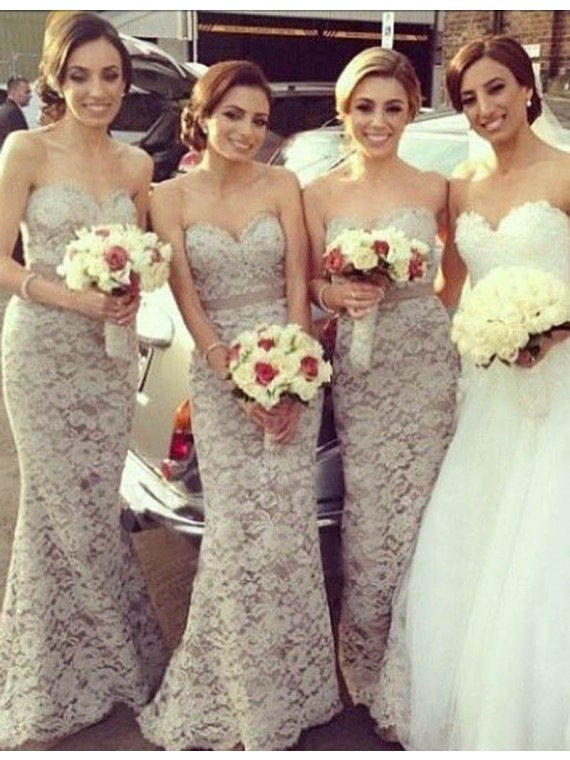 Nice Ivory Sweetheart Sweep Train with Sash Mermaid Lace Bridesmaid Dress