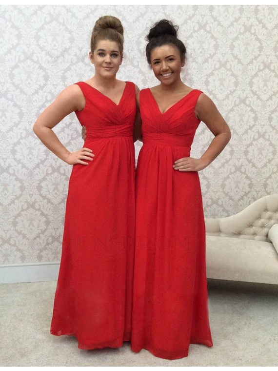 Casual Red V Neck Floor Length Ruched Bridesmaid Dress