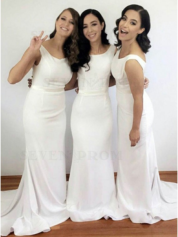 Simple White Bateau Sweep Train Mermaid Backless Bridesmaid Dress